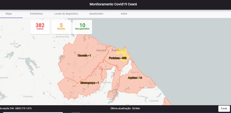COVID-19: Mapa faz um monitoramento dos casos de Coronavírus no Ceará